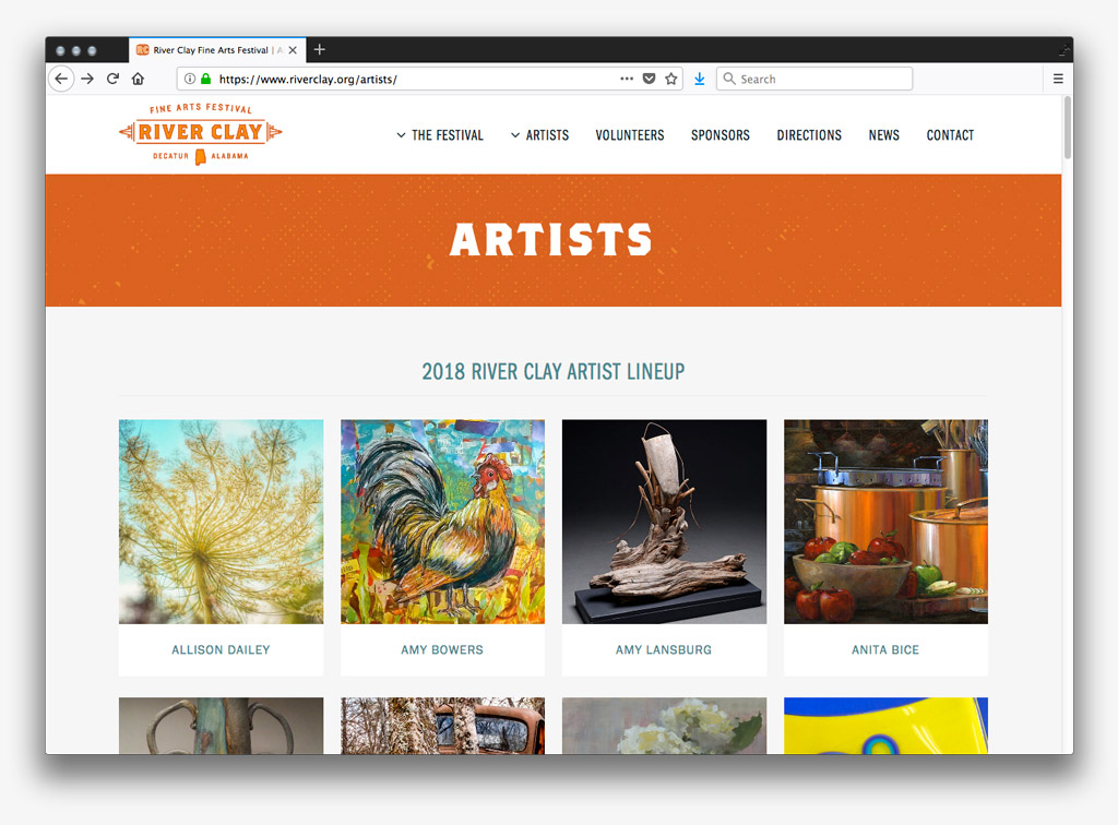 2018 River Clay Artist Lineup Screenshot